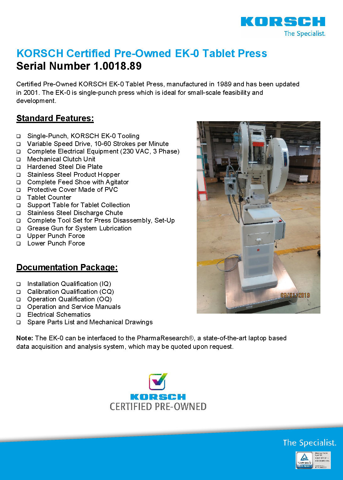 Certified Pre Owned >> Korsch Ag Pre Owned Tablet Presses